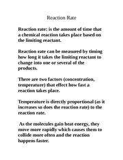 reaction rate notes