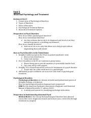 Psych Unit 5 Notes: Abnormal Psychology and Treatment.docx