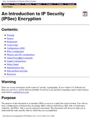 an introduction to ip security (ipsec) encryption
