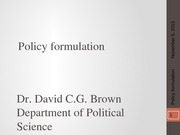 PSCI 2401A - Week 9 - Policy formulation - 2013-11-05