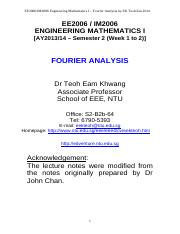 EE2006 - Lecture Notes on Fourier Analysis ]
