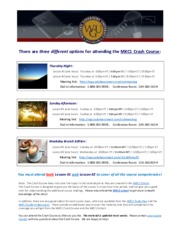 MKC1 Crash Course Information