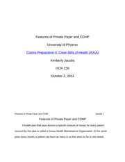 Features of Private Payer and CDHP