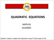 Lesson 3 Quadratic Equations