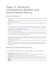 Topic 2 - Perfectly Competitive Market Model and Governemnt Policy