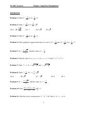1 Algebraic Manipulations d Problems