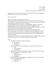 TCH 209 Tutoring Goals and Plans for Instruction Part 1
