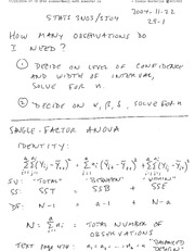 STATS 3N03 Single Factor ANOVA Notes