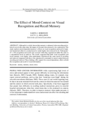 The effect of Mood-Context on Visual Recognition and Recall Memory