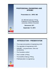 APSC 450 Lecture 2 - Powerpoint - Role of APEGBC and Becoming a Registered P.Eng - Dr. Isaacson