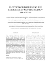 ELECTRONIC LIBRARIES AND THE EMERGENCE OF NEW TECHNOLOGY PARADIGM5