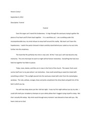 experience essay travel to honors comp i block love at  2 pages sensory essay the funeral