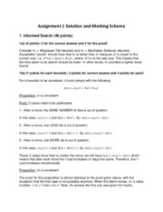 Assignment 1 Solution and Marking Scheme