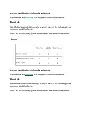 ALEKS Week 6 Account classification into financial statements