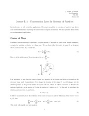Conservation Laws for Systems of Particles notes