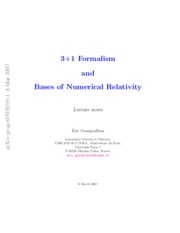 3+1 Formalism and Bases of Numerical Relativity