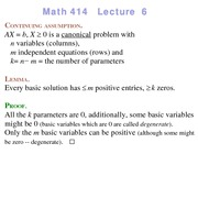 Lecture 6 on Linear Programming