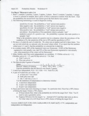 Worksheet 3-Bayes Thm, Ind Events