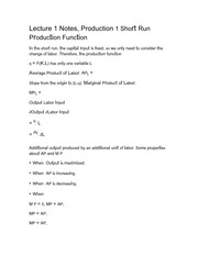 Lecture 1 Notes, Production