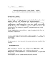 Human Engineering And Climate Change