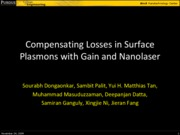 Lecture 15 - Compensating Losses in Surface Plasmons with Gain and Nanolaser (student presentation)