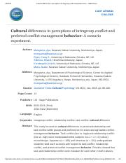 Cultural differences in perceptions of intragroup conflict and preferred co...: EBSCOhost