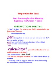 Preparation for Test1 F10