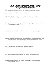 AP Euro -- Chapter 19 Study Guide