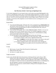 Annotated Bibliography Assignment Sheet