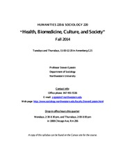 Hum 220 & Soc 220 Syllabus - 2014 Fall