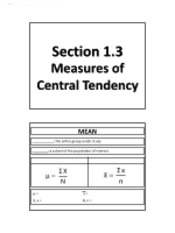 1.3 - Measures of Central Tendency (No Solutions)