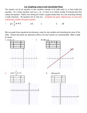 2.2,2.3 Graphing Linear Equations & Intercepts
