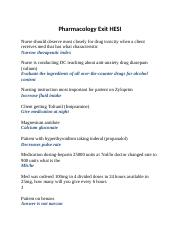 Pharmacology Exit HESI Word