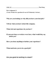 Sample Interview Questions 3
