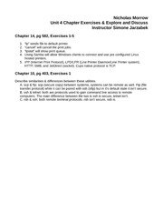 Unit 4 Chapter Exercises & Explore and Discuss