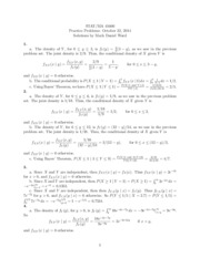 Practice Problems conditional probability density functions Solution