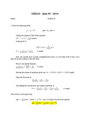 CHE 222 Spring 2014 Quiz 9 Solutions