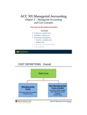 PostClass C2 Lecture - Managerial Accounting and Cost Concepts