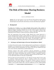 The Risk of Revenue Sharing Business Model