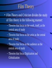 Film Theory Ppt Film Theory U2022 Film Theory And Criticism Divides The Study Of Film Theory In The Following Manner U2013 Theories That Focus On The Work Course Hero