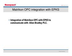 Matrikon OPC pdf - Honeywell com Matrikon OPC integration
