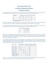 OptimizationTutorial Sheet Formulation 2012-2013