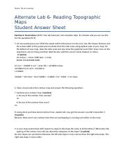 STUDENT ANSWER SHEET Alternate Lab 6- Reading Topographic Maps.NicoleGramley.docx