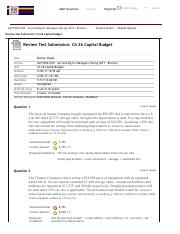Review Test Submission: Ch 26 Capital Budget – ...