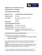 BUS5009 Assessment Briefing Document 2015-2