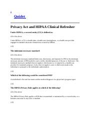 HIPAA Refresher Questions