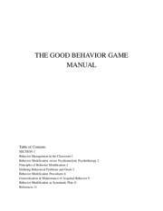 good behavior game manual for Exam 2 PSYC 2060