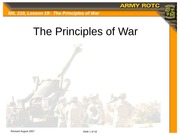 Lesson 19 - Introduction to the Principles of War