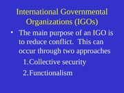 Week 12 International Governmental Orgs