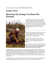 Restoring The Ecology Can Boost The Economy